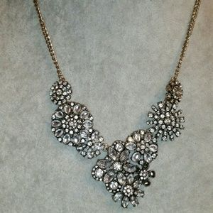 Icing Gold, Floral White Crystal Statement Necklac
